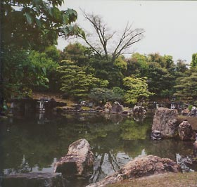 Garden at Nijo-jo Castle in Kyoto, Japan.