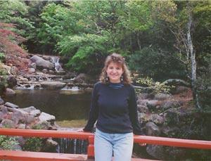 Eve in front of creek in Miyajima, Japan